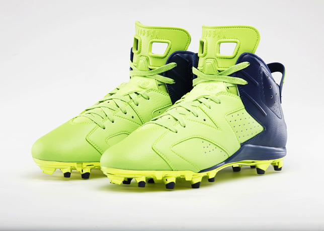 Super Bowl Air Jordan 6 Cleats Front Angle Pair