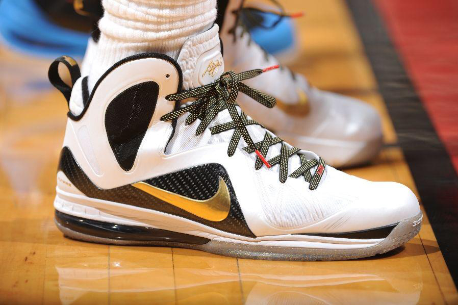 3061105ab2239 ... Foot Locker Blog. 2012 Nike LeBron 9 Elite Home PEs worn by LeBron  james in the NBA Finals.