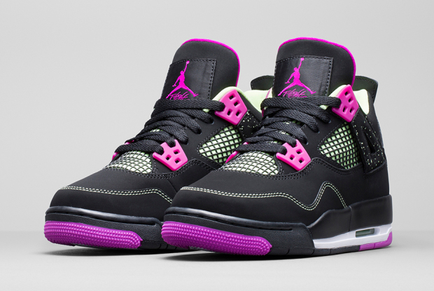 Air Jordan 4 Retro Girls Black:Fuchsia Force-Flash Lime