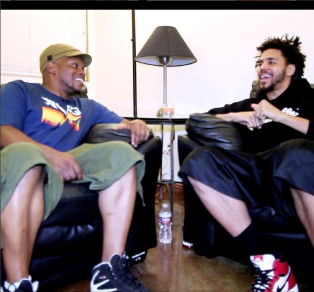 "sports shoes 30471 037f3 Cole World meets Sway s Universe! J. Cole spotted with a pair of Jordan 1  ""Chicagos"" with a pair of black shorts and a ""Dreamville"" hoodie."